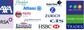 AXA, Allianz,RSA, ENSIGN,ZURICH,CTS,MMA,TRADEX,CTS,HSBC